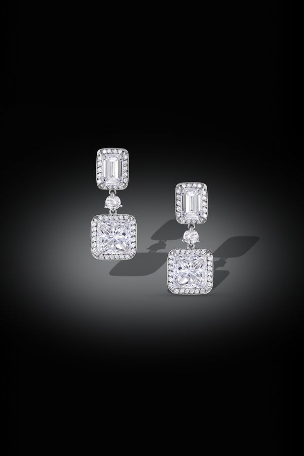 Rivière Platinum Princess and Emerald Diamond Drop Earrings, GIA Certified