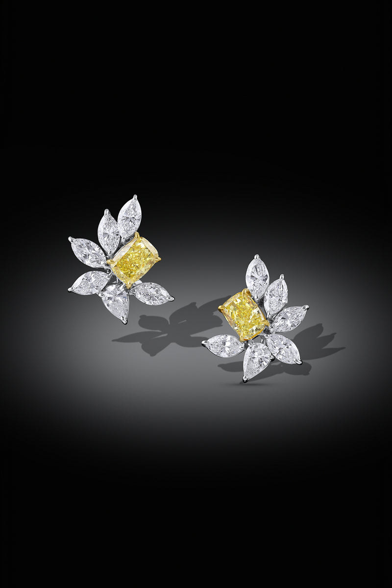 18kt Yellow Gold and Platinum Fancy Vivid Yellow Cluster Earrings, GIA Certified