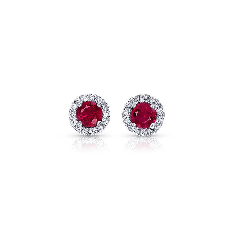Round Brilliant Ruby and Diamond Studs