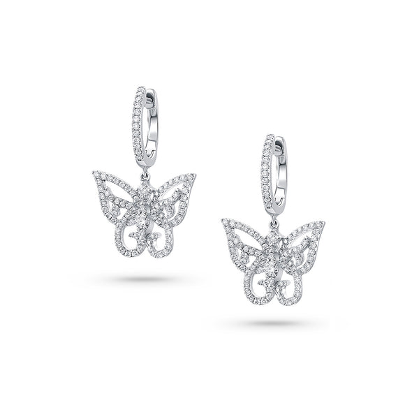 18KWG BUTTERFLY Chandelier PAVE DIAMOND EARRINGS