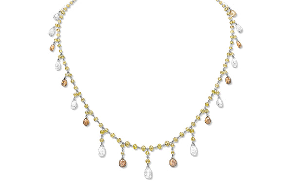 Riviere Briolette Multi-color Diamond Necklace
