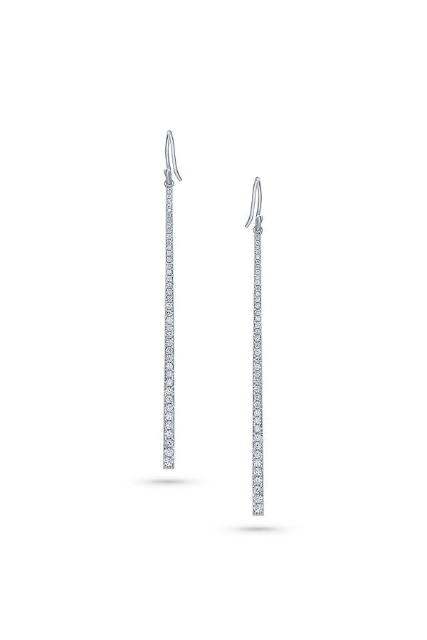 Diamond Long Bar Drop Earrings