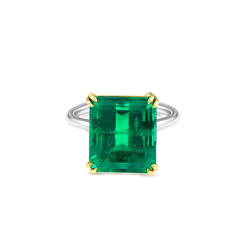 Platinum 18K 7.44Ct Colombia Emerald Ring, AGL Certified