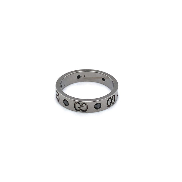 Gucci 18k White gold Blackened Rhodium-Plated Diamond Icon Ring - Estate