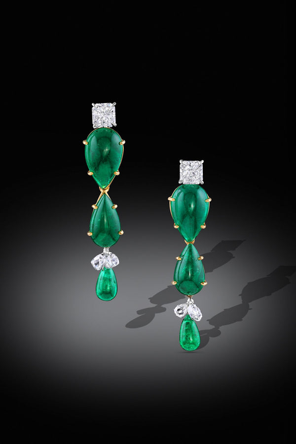 Rivière 18K Gold Cabochon Emerald and Diamond Drop Earrings