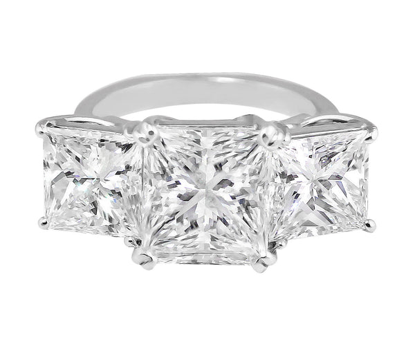 5ct Three Stone Princess Cut Diamond Ring, Riviera collection