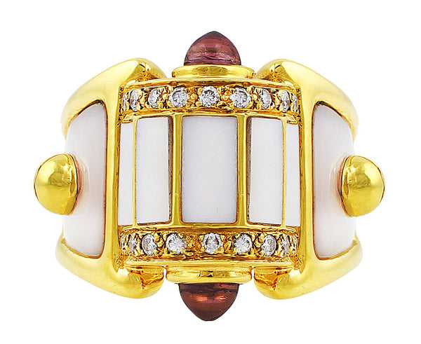 Estate Mother of Pearl Panel Ring