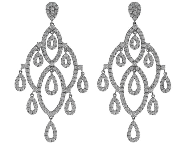 Diamond Drop Chandelier Stud Earrings