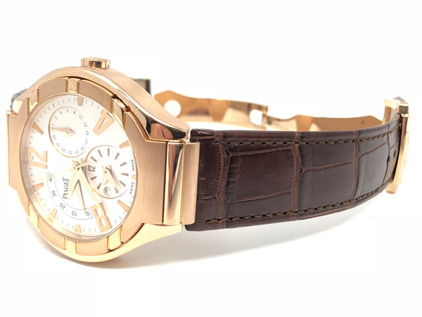 Piaget Polo GMT Power Reserve Date Brown Alligator Strap GOA30028 - Pre-Owned