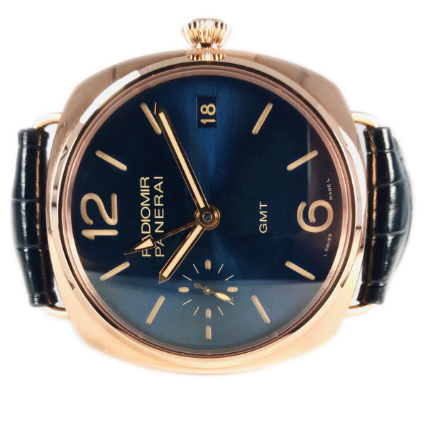 Panerai Radiomir 3 Days GMT Oro Rosso Rose Gold Blue Dial PAM 598 - Certified Pre-Owned