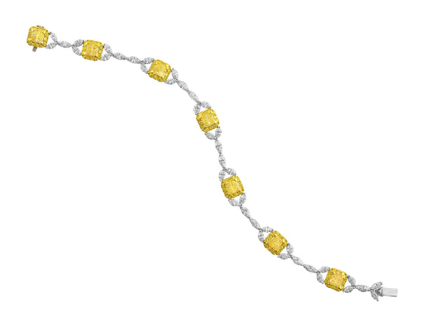 Delicate Fancy Yellow and White Diamond Bracelet