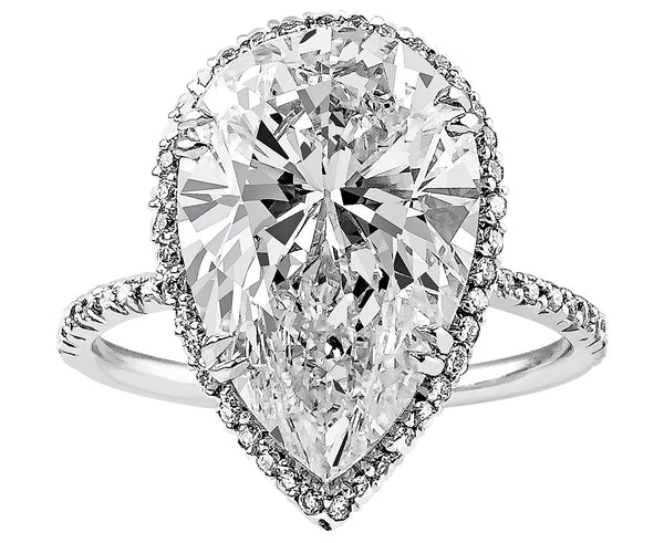 6ct Pear Shape Diamond Ring, Riviera collection