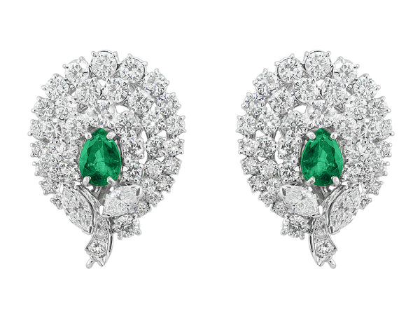 Estate Emerald and Diamond Earrings