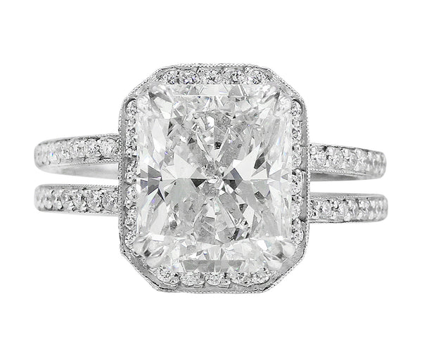 4ct Internally Flawless Radiant Cut Diamond Ring
