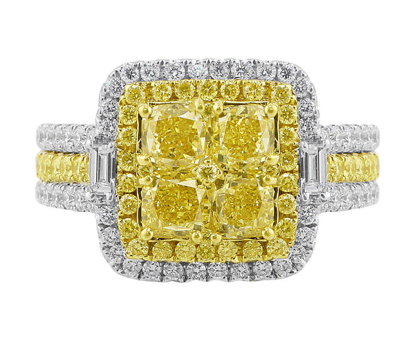 Square Yellow White-Accent Diamond Ring