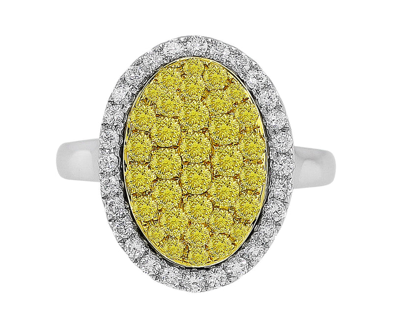Yellow Diamond Sunburst Ring