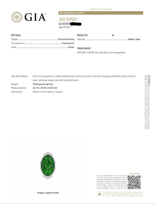 Carved Jade Diamond Eagle Pin, GIA Certified