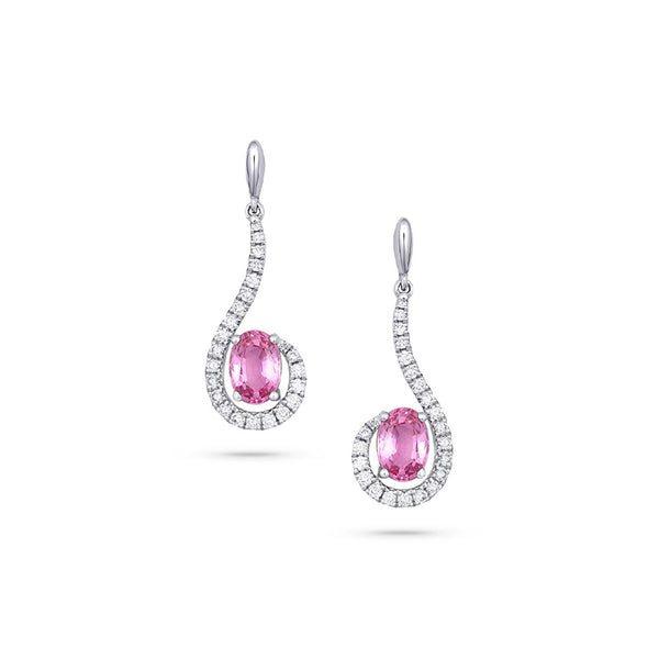 18KT WHITE GOLD DIAMOND PINK SAPPHIRES EARRINGS