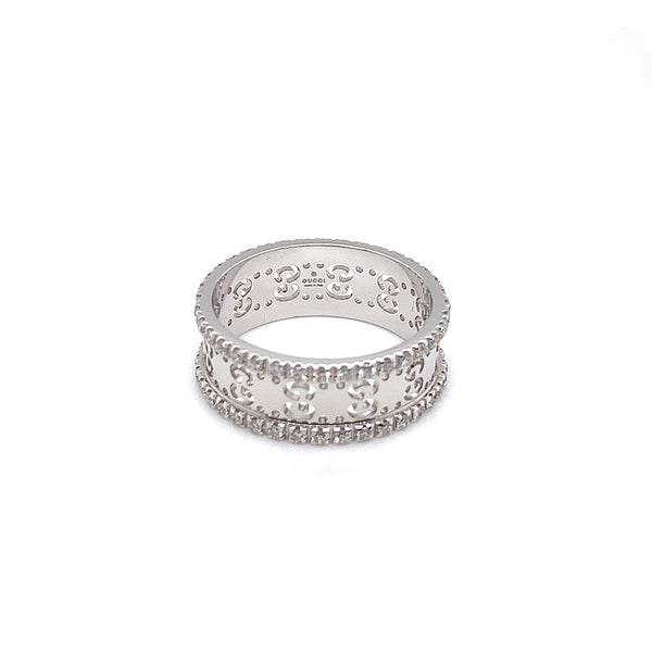Gucci 18k White Gold Diamond Icon Ring - Estate