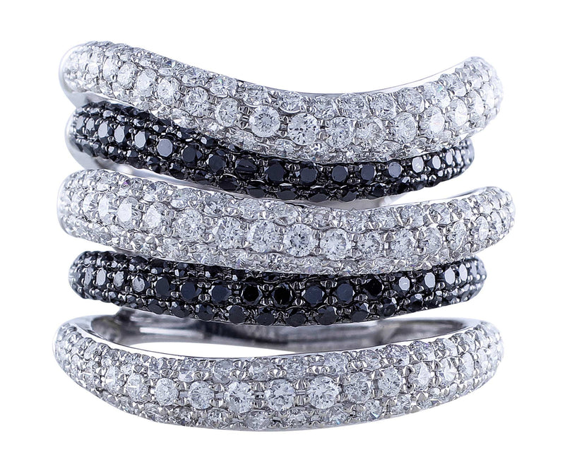 Pave Black and White Diamond Ring