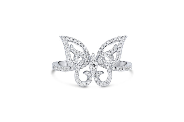 18KT WHITE GOLD BUTTERFLY PAVE DIAMOND RING