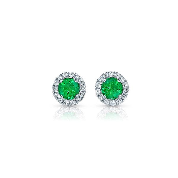 Round Brilliant Emerald and Diamond Studs