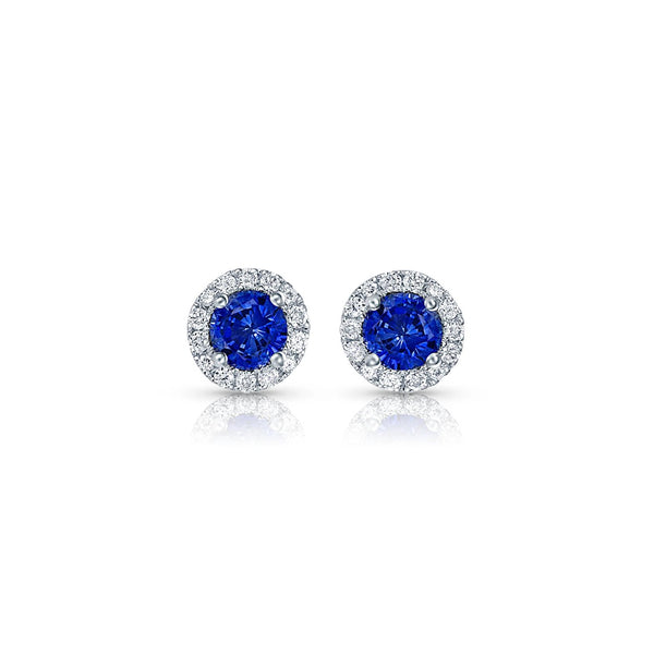 Round Brilliant Sapphire and Diamond Studs