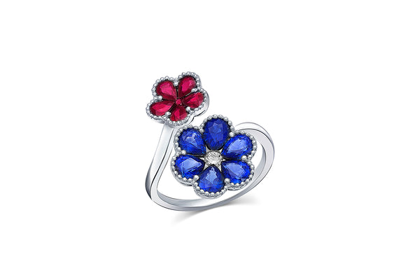 Sapphire and Ruby Flower Motif Ring