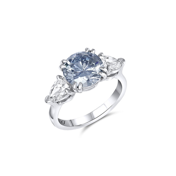Rivière 2.72ct Fancy Grey-Blue Diamond Ring, GIA Certified