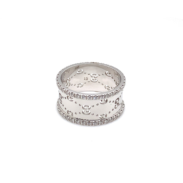 Gucci 18k White Gold Diamond Wide Icon Ring - Estate