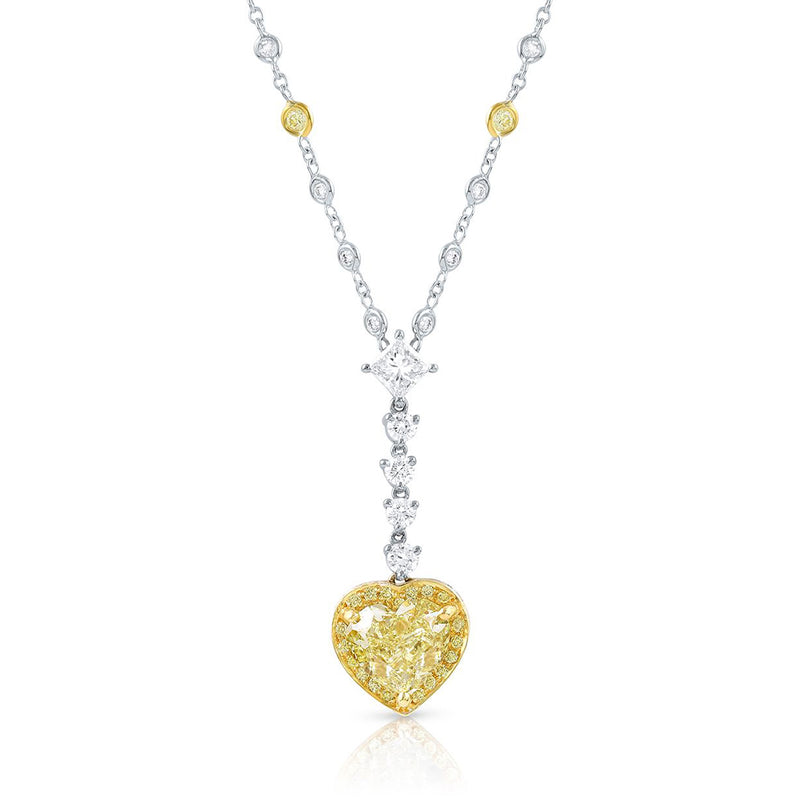 18K Gold Diamond Heart Drop Necklace, GIA Certified