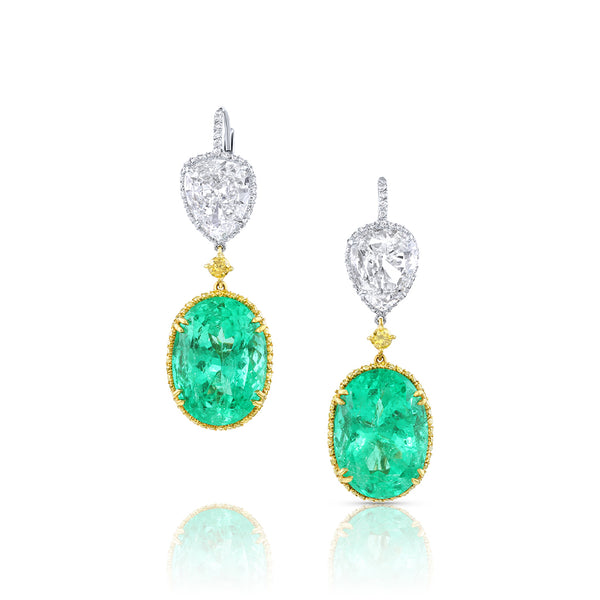 Rivière Platinum 18K Yellow Gold Diamond Emerald Earrings