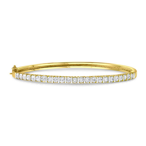 18K Yellow Gold 1.85ctw Diamond Bangle Bracelet