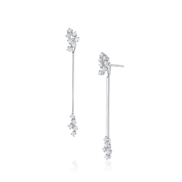 18kt White Gold Diamond Cluster Long Drop Earrings