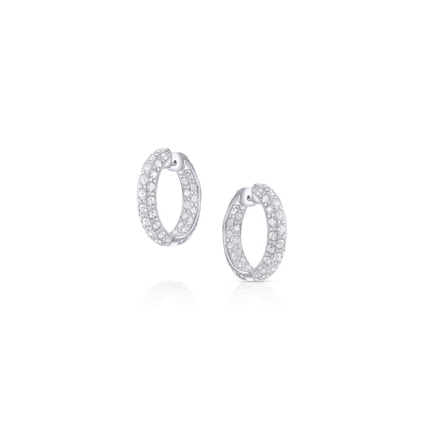 18k White Gold Small 3 Row Diamond Pave Hoops