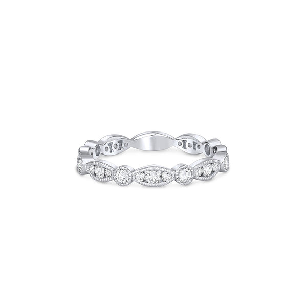 18k White Gold Diamond Round Marquise Eternity Band Ring