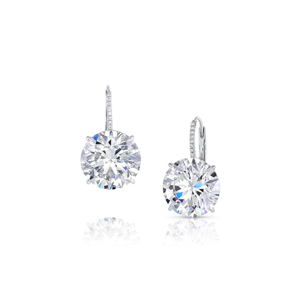 Platinum 21ct Diamond Earrings, GIA Certified