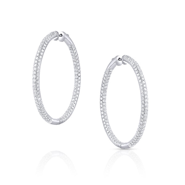 "18KW ROUND PAVE DIAMOND 1.75"" HOOPS"
