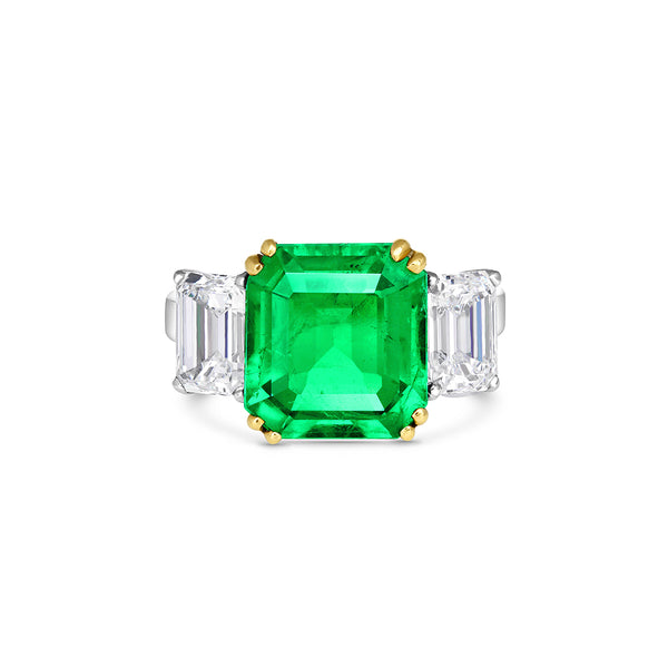 Platinum 18k Yellow Gold 3.91ct Natural Colombian Emerald Diamond Ring