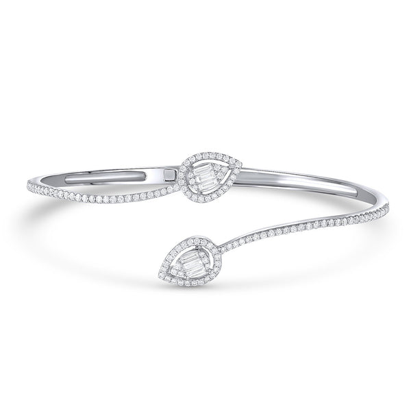 18k White Gold Diamond Crossover Bangle