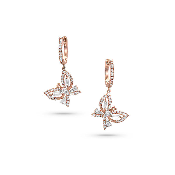 18k Rose Gold Diamond Butterfly Drop Earrings