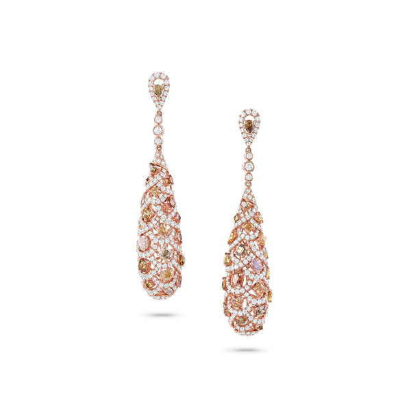 """Odelia""18k Rose Gold Multicolor Diamond Tear Drop Earrings"