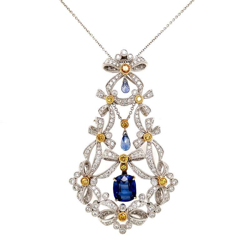 18K Gold Diamond Sapphire Chandelier Bow Pendant Necklace