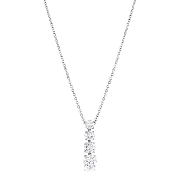 Rivière Four Stone 3.73ctw Diamond Pendant Necklace