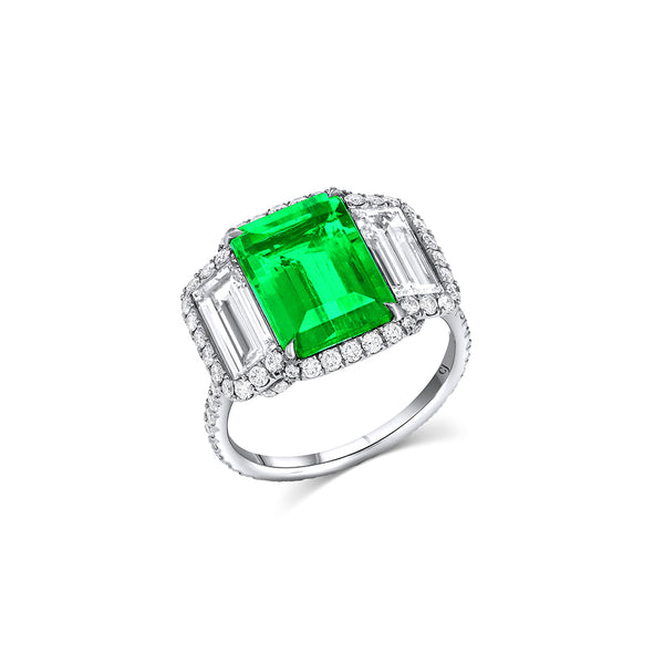 Platinum 3.50ct Natural Colombian Emerald Diamond Ring