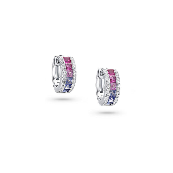 18k White Gold Rainbow Sapphire Diamond Huggie Hoop Earrings