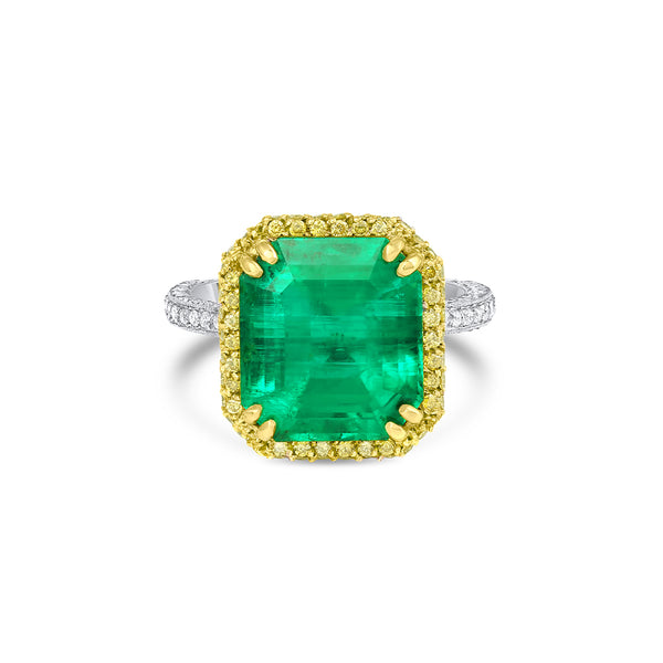Rivière 18k Gold Platinum 6ct Emerald Diamond Ring, AGL Certified