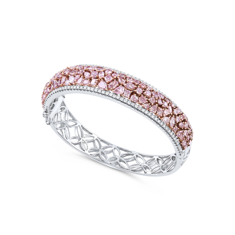 18k White Gold 9.47ctw Pink and White Diamond Bangle Bracelet