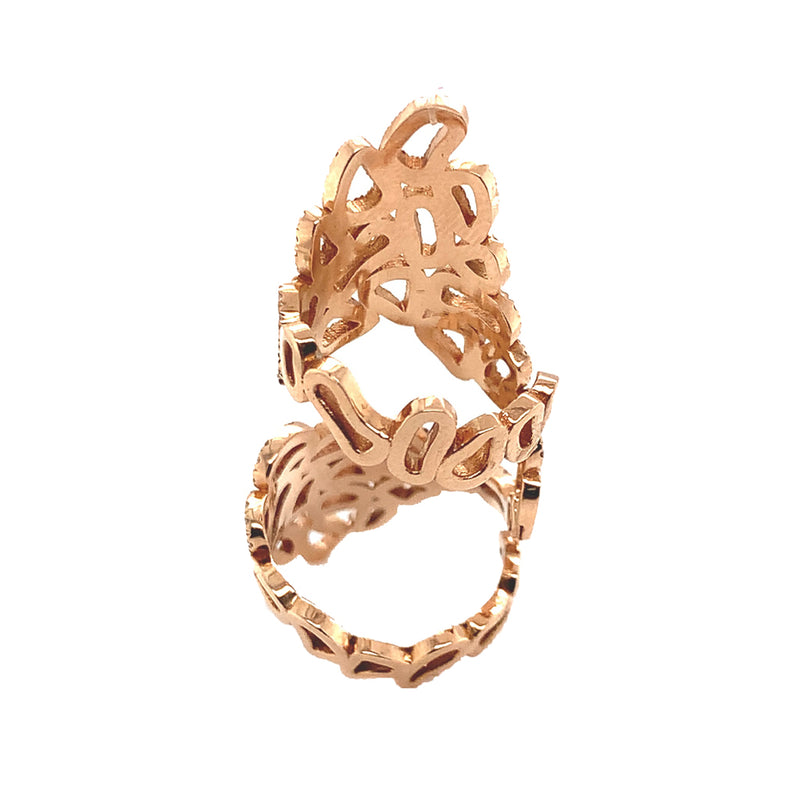 18K Rose Gold Double Pavé Lace Ring - Pre-Owned