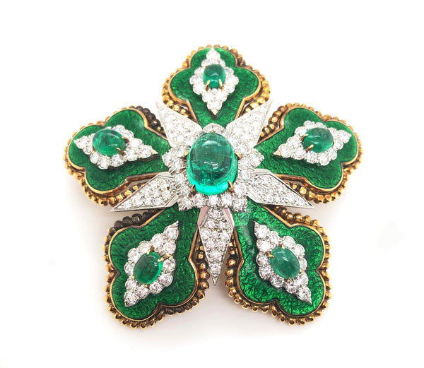 David Webb Emerald Floral Brooch, GIA Certified